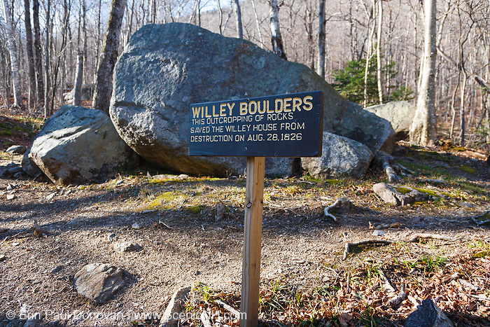 """The """"Willey Boulders"""" in Crawford Notch State Park in Hart's Location, New Hampshire. These boulders saved the Willey House from destruction on August 28, 1826 when a massive landslide came down Mount Willey. These boulders located just above the house caused the landslide to split into two debris flows around the house. The house was said to be untouched, but all seven members of the family and two hired men perished in the slide while trying to escape to a safe area."""
