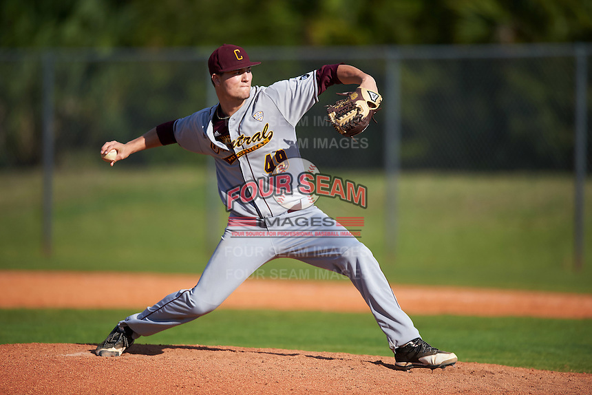 Central Michigan Chippewas relief pitcher Zach Kohn (49) delivers a pitch during a game against the Boston College Eagles on March 3, 2017 at North Charlotte Regional Park in Port Charlotte, Florida.  Boston College defeated Central Michigan 5-4.  (Mike Janes/Four Seam Images)