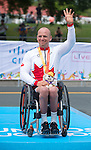 TORONTO, ON, AUGUST 8, 2015. Canadian Charles Moreau accepts the bronze medal in Men's Road Race (H3-5) at the ParaPan Am Games.<br /> Photo: Dan Galbraith/Canadian Paralympic Committee