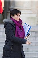 PARIS , PALAIS DE L'ELYSEE LE 18 / 01 / 2017<br /> SORTIE DU CONSEIL DES MINISTRES<br /> ANNICK GIRARDIN , MINISTRE DE LA FONCTION PUBLIQUE .