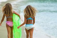 Two young girls on the beach<br /> Gibney Beach, St. John<br /> Virgin Islands National Park