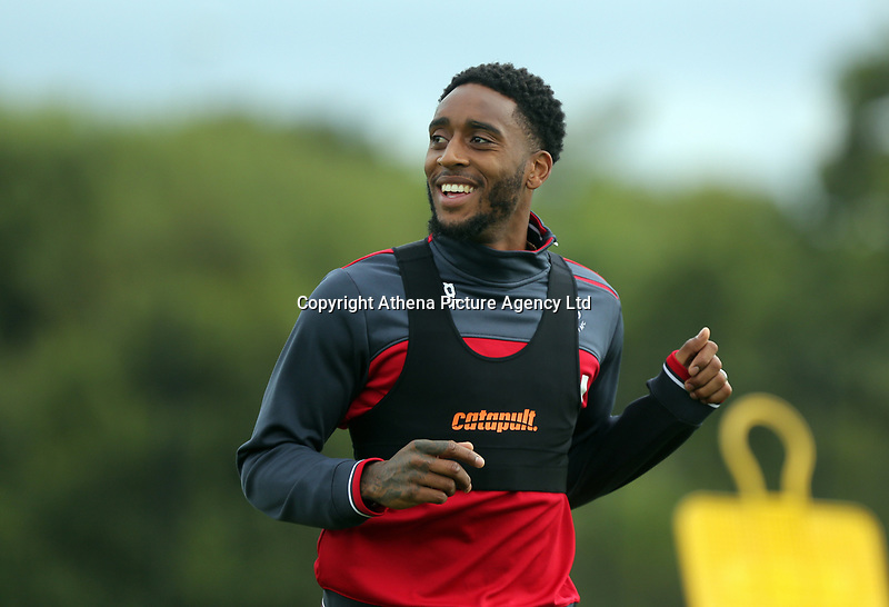 Leroy Fer in action during the Swansea City Training at The Fairwood Training Ground, Swansea, Wales, UK. Wednesday 16 August 2017