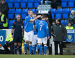 St Johnstone v Partick Thistle....17.01.15  SPFL<br /> Frazer Wright consoles Chris Millar as he goes off injured to be replaced by Scott Brown<br /> Picture by Graeme Hart.<br /> Copyright Perthshire Picture Agency<br /> Tel: 01738 623350  Mobile: 07990 594431