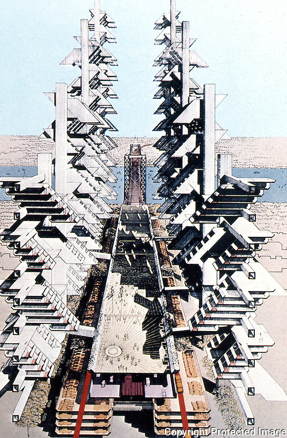 Paul Rudolph:  Gateway Buildings 1974--Perspecitve Section.  Peter Wolf, EVOLVING CITY.