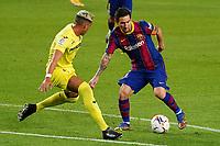 27th September 2020; Camp Nou, Barcelona, Catalonia, Spain; La Liga Football, Barcelona versus Villareal;  Leo Messi takes on Funes Mori of Villareal