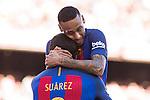 FC Barcelona's Luis Suarez and Neymar Santos Jr during the La Liga match between Futbol Club Barcelona and Deportivo de la Coruna at Camp Nou Stadium Spain. October 15, 2016. (ALTERPHOTOS/Rodrigo Jimenez)