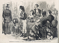 Glasgow police raid the home of Miss Laura Clarendon who they suspect is indulging in illicit conduct.  They walk in on a 'supper party' at her house / The day's doings 25 February 1871 page 72 Vol II / 1871