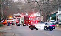 Marc Hayot/Siloam Sunday A gas leak at the intersection of  South Washington Street and East Granite Street caused the 600 block of South Washington Street to be closed while firefighters, police, and city utilities worked to solve the problem.