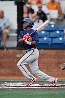 Danville Braves shortstop Nicholas Shumpert (1) follows through on a swing during a game against the Johnson City Cardinals on July 28, 2018 at TVA Credit Union Ballpark in Johnson City, Tennessee.  Danville defeated Johnson City 7-4.  (Mike Janes/Four Seam Images)