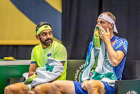 Rotterdam, The Netherlands, 28 Februari 2021, ABNAMRO World Tennis Tournament, Ahoy, Qualyfying doubles match:  Divij Sharan (IND) (L) and Igor Zelenay (SVK)<br /> Photo: www.tennisimages.com/henkkoster