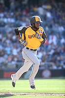 Manuel Margot of the World Team runs to first base during a game against the USA Team during The Futures Game at Petco Park on July 10, 2016 in San Diego, California. World Team defeated USA Team, 11-3. (Larry Goren/Four Seam Images)