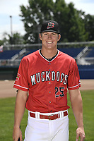 Batavia Muckdogs Sean Reynolds (25) poses for a photo on July 2, 2018 at Dwyer Stadium in Batavia, New York.  (Mike Janes/Four Seam Images)