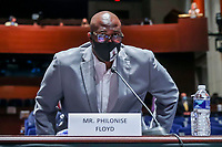 George FloydÌs brother Philonise Floyd arrives at the House Judiciary Committee hearing on ÎPolicing Practices and Law Enforcement AccountabilityÌ at the US Capitol in Washington, DC, USA, 09 June 2020. The hearing comes after the death of George Floyd while in the custody of officers of the Minneapolis Police Department and the introduction of the Justice in Policing Act of 2020 in the US House of Representatives.<br /> Credit: Michael Reynolds / Pool via CNP/AdMedia
