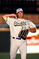 Kyle Peterson of the Stockton Ports participates in a minor league baseball game during the 1998 season at San Manuel Stadium in San Bernardino, California. (Larry Goren/Four Seam Images)
