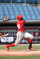 Demi Orimoloye (45) of St. Matthews Catholic High School in Orleans, Ontario, Canada playing for the Philadelphia Phillies scout team during the East Coast Pro Showcase on August 1, 2014 at NBT Bank Stadium in Syracuse, New York.  (Mike Janes/Four Seam Images)