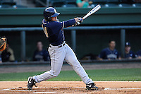 Left fielder A.J. Lardo (44) of the University of Pittsburgh Panthers bats in a game against the Presbyterian Blue Hose on Tuesday, March 11, 2014, at Fluor Field at the West End in Greenville, South Carolina. Pitt won, 12-3. (Tom Priddy/Four Seam Images)