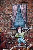 Amérique/Amérique du Nord/Canada/Québec/Montréal: Mur peint sur un parking du Boulevard René-Lévesque