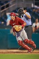 Palm Beach Cardinals catcher Stephen Zavala (35) check the runner with umpire Grant Conrad looking on during a game against the Jupiter Hammerheads on August 13, 2016 at Roger Dean Stadium in Jupiter, Florida.  Jupiter defeated Palm Beach 6-2.  (Mike Janes/Four Seam Images)