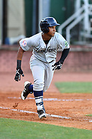 Pulaski Yankees designated hitter Frederick Cuevas (27) runs to first base during a game against the Elizabethton Twins at Joe O'Brien Field on June 27, 2016 in Elizabethton, Tennessee. The Yankees defeated the Twins 6-4. (Tony Farlow/Four Seam Images)