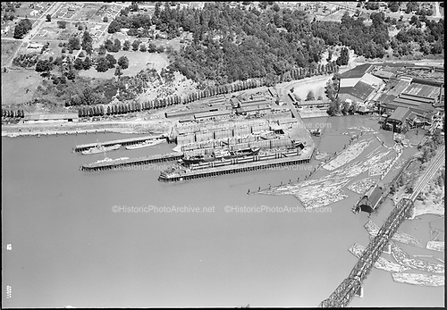 """aerials July 6, 1952"" ""Port of Portland old drydock"" (Willamette Cove, SP&S railroad bridge on Willamette at St. Johns)"
