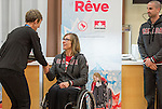 Sochi, RUSSIA - Mar 9 2014 -  Sonja Gaudet receives the James Worrall Flag Bearer Award from Deborah Gullaher at the Petro-Canada Sochi 2014 Family & Friends reception at Canada Paralympic House at the 2014 Paralympic Winter Games in Sochi, Russia.  (Photo: Matthew Murnaghan/Canadian Paralympic Committee)