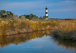 Cape Hatteras National Seashore, North Carolina: Bodie Island lighthouse (1872) on North Carolina's Outer Banks refelcted in salt water marsh