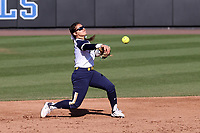 DURHAM, NC - FEBRUARY 29: Brooke Marquez #1 of the University of Notre Dame throws to first base for an out during a game between Notre Dame and Duke at Duke Softball Stadium on February 29, 2020 in Durham, North Carolina.