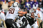 Oklahoma State Cowboys offensive lineman Zachary Crabtree (60) in action during the game between the Oklahoma State Cowboys and the TCU Horned Frogs at the Amon G. Carter Stadium in Fort Worth, Texas.