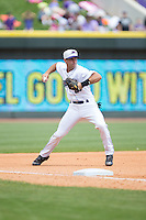 Winston-Salem Dash third baseman Ethan Wilson (2) makes a throw to first base against the Carolina Mudcats at BB&T Ballpark on April 22, 2015 in Winston-Salem, North Carolina.  The Dash defeated the Mudcats 4-2..  (Brian Westerholt/Four Seam Images)