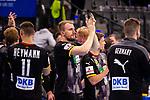 Freude nach Heimsieg: Julius Kuehn (Deutschland #35) ; Sebastian Heymann (Deutschland #11) ; EHF EURO-Qualifikation / EM-Qualifikation / Handball-Laenderspiel: Deutschland - Estland am 02.05.2021 in Stuttgart (PORSCHE Arena), Baden-Wuerttemberg, Deutschland.<br /> <br /> Foto © PIX-Sportfotos *** Foto ist honorarpflichtig! *** Auf Anfrage in hoeherer Qualitaet/Aufloesung. Belegexemplar erbeten. Veroeffentlichung ausschliesslich fuer journalistisch-publizistische Zwecke. For editorial use only.
