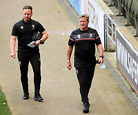 Lincoln City's first team development coach Richard O'Donnell, left, and Lincoln City's assistant manager David Kerslake arrive at the ground<br /> <br /> Photographer Chris Vaughan/CameraSport<br /> <br /> The EFL Sky Bet League One - Milton Keynes Dons v Lincoln City - Saturday 19th September 2020 - Stadium MK - Milton Keynes<br /> <br /> World Copyright © 2020 CameraSport. All rights reserved. 43 Linden Ave. Countesthorpe. Leicester. England. LE8 5PG - Tel: +44 (0) 116 277 4147 - admin@camerasport.com - www.camerasport.com