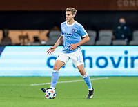 WASHINGTON, DC - APRIL 17: James Sands #16 of New York City FC dribbles during a game between New York City FC and D.C. United at Audi Field on April 17, 2021 in Washington, DC.