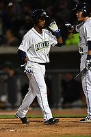 Second baseman Luis Carpio (18) of the Columbia Fireflies is congratulated after scoring a run in a game against the Augusta GreenJackets on Opening Day, Thursday, April 6, 2017, at Spirit Communications Park in Columbia, South Carolina. Columbia won, 14-7. (Tom Priddy/Four Seam Images)