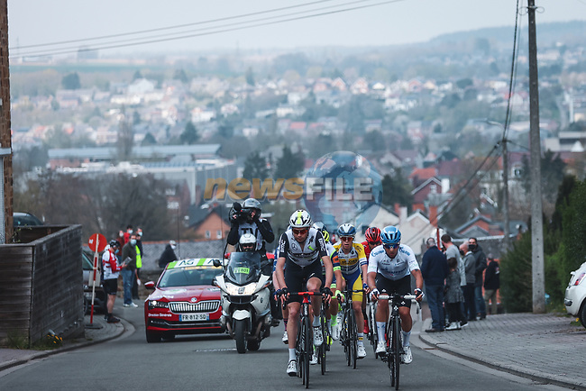 The breakaway during the 2021 Flèche-Wallonne, running 193.6km from Charleroi to Huy, Belgium. 21st April 2021.  <br /> Picture: A.S.O./Aurélien Vialatte | Cyclefile<br /> <br /> All photos usage must carry mandatory copyright credit (© Cyclefile | A.S.O./Aurélien Vialatte)