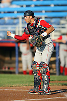 July 11th 2008:  Catcher Ralph Henriquez (5) of the Brooklyn Cyclones, Class-A affiliate of the NY Mets, during a game at Russell Diethrick Park in Jamestown, NY.  Photo by:  Mike Janes/Four Seam Images