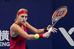 Kristina Mladenovic of France hits a return during the singles Round Robin match of the WTA Elite Trophy Zhuhai 2017 against Julia Goerges of Germany at Hengqin Tennis Center on November  03, 2017 in Zhuhai, China.  Photo by Yu Chun Christopher Wong / Power Sport Images
