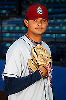 Mahoning Valley Scrappers pitcher Elvis Araujo #50 poses for a photo before a game against the Jamestown Jammers at Russell E. Diethrick Jr Park on September 2, 2011 in Jamestown, New York.  Mahoning Valley defeated Jamestown 8-4.  (Mike Janes/Four Seam Images)