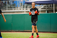 TACOMA, WA - JULY 31: Sarah Bouhaddi #12 of the OL Reign enters the pitch before a game between Racing Louisville FC and OL Reign at Cheney Stadium on July 31, 2021 in Tacoma, Washington.