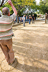 There are some techniques to play this game. Whether you want the boule to fly and stay or to roll to the jack you choose to stand upright or you crouch and through the boule in an high or lower arrow.