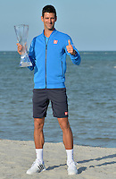 KEY BISCAYNE, FL - APRIL 05: Novak Djokovic of Serbia poses at Crandon Park after winning the Men's Final of the Miami Open presented by Itau against Andy Murray of Great Brittain at Crandon Park Tennis Center on April 5, 2015 in Key Biscayne, Florida<br /> <br /> <br /> People:  Novak Djokovic<br /> <br /> Transmission Ref:  FLXX<br /> <br /> Must call if interested<br /> Michael Storms<br /> Storms Media Group Inc.<br /> 305-632-3400 - Cell<br /> 305-513-5783 - Fax<br /> MikeStorm@aol.com