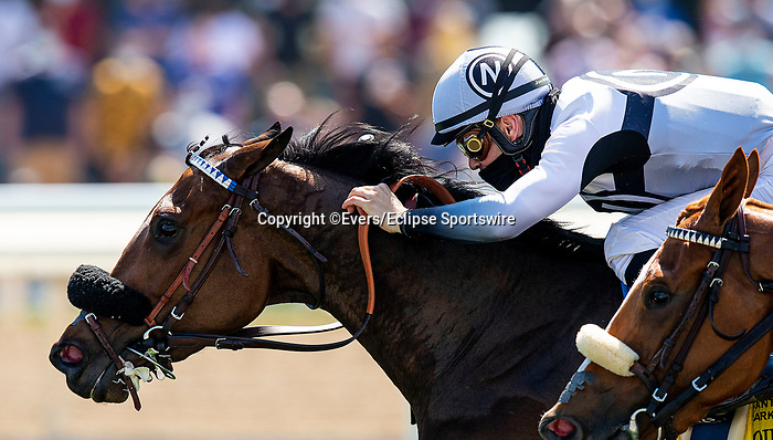 April 3, 2021: Going Global and Flavien Prat win the Providencia Stakes at Santa Anita Park in Arcadia, California on April 3, 2021. Evers/Eclipse Sportswire/CSM