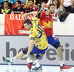 Spain's Iosu Goni (r) and Bosnia Herzegovina's Marko Panic during 2018 Men's European Championship Qualification 2 match. November 2,2016. (ALTERPHOTOS/Acero)