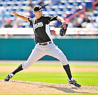 2 March 2011: Florida Marlins pitcher Burke Badenhop in action during a Spring Training game against the Washington Nationals at Space Coast Stadium in Viera, Florida. The Nationals defeated the Marlins 8-4 in Grapefruit League action. Mandatory Credit: Ed Wolfstein Photo