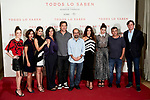 (L-R) Carla Campra, Inma Cuesta, Sara Salamo, Elvira Minguez, Javier Bardem, Asghar Farhadi, Penelope Cruz, Barbara Lennie and Eduard Fernandez attends to 'Todos lo Saben' film photocall at Urso Hotel in Madrid, Spain. September 12, 2018. (ALTERPHOTOS/A. Perez Meca)
