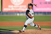 Augusta GreenJackets pitcher Solomon Bates (28) delivers a pitch during a game against the Asheville Tourists at McCormick Field on April 6, 2019 in Asheville, North Carolina. The Tourists defeated the GreenJackets 6-3. (Tony Farlow/Four Seam Images)