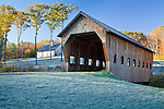 A modern barn and covered bridge in Reading, VT, USA