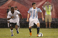Argentina midfielder Jose Sosa (17) is shadowed by United States midfielder Maurice Edu (26). The men's national teams of the United States and Argentina played to a 0-0 tie during an international friendly at Giants Stadium in East Rutherford, NJ, on June 8, 2008.