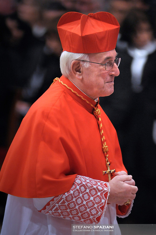 Newly-elevated German Cardinal Walter Brandmueller, who is one of the 24 new cardinals installed by Pope Benedict XVI (not pictured) during the Consistory ceremony in Saint Peter's Basilica at the Vatican, 20 November 2010. Reports state that Pope Benedict XVI installed 24 new Roman Catholic cardinals from around the world on 20 November 2010 in his latest batch of appointments that could include his successor as leader of the 1.2 billion member church