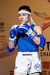 Zhou Kang (Blue) of China enters to the ring prior the male muay 57KG division weight bout against Nitamizu Toshiyuki (Not in picture) of Japan during the East Asian Muaythai Championships 2017 at the Queen Elizabeth Stadium on 12 August 2017, in Hong Kong, China. Photo by Yu Chun Christopher Wong / Power Sport Images