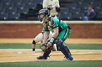 Notre Dame Fighting Irish catcher Jack Alexander (8) picks up the baseball during the game against the Wake Forest Demon Deacons at David F. Couch Ballpark on March 10, 2019 in  Winston-Salem, North Carolina. The Demon Deacons defeated the Fighting Irish 7-4 in game one of a double-header.  (Brian Westerholt/Four Seam Images)